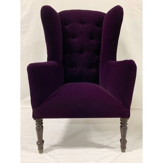 Early 20th Century Vintage Gothic Purple Velvet Wingback Chair Preview