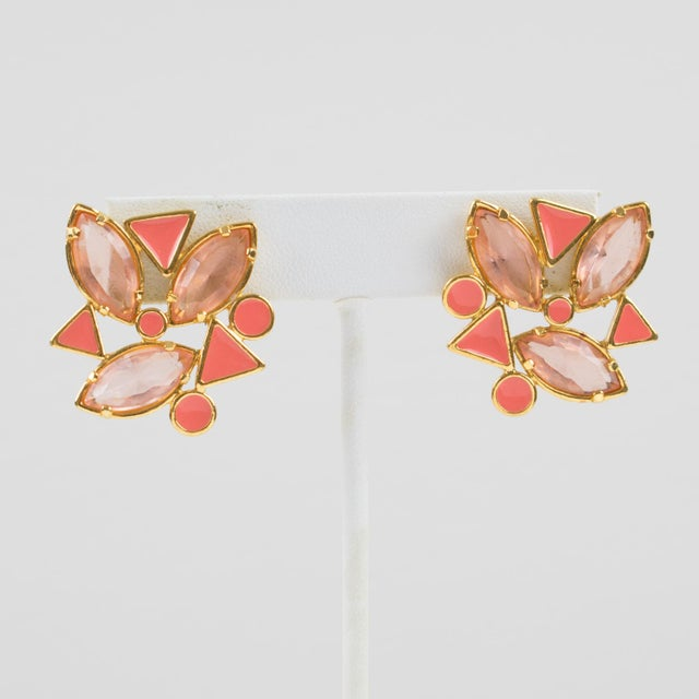 Metal Yves Saint Laurent Paris Pierced Earrings Gilt Metal Pink Salmon Rhinestones For Sale - Image 7 of 7