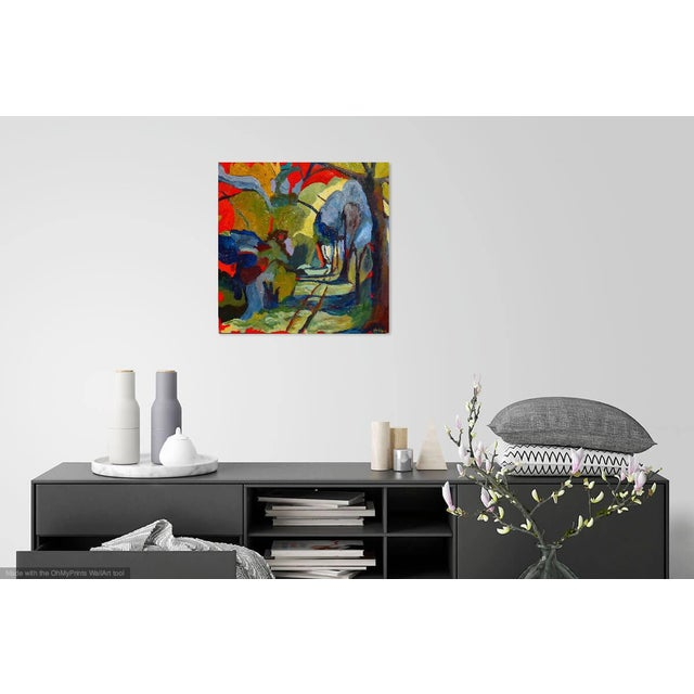 Wood Abstract Painting, Path in the Woods For Sale - Image 7 of 10