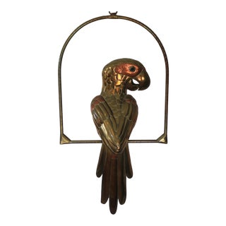 1970s Sergio Bustamante Large Mixed Metal Hanging Parrot For Sale