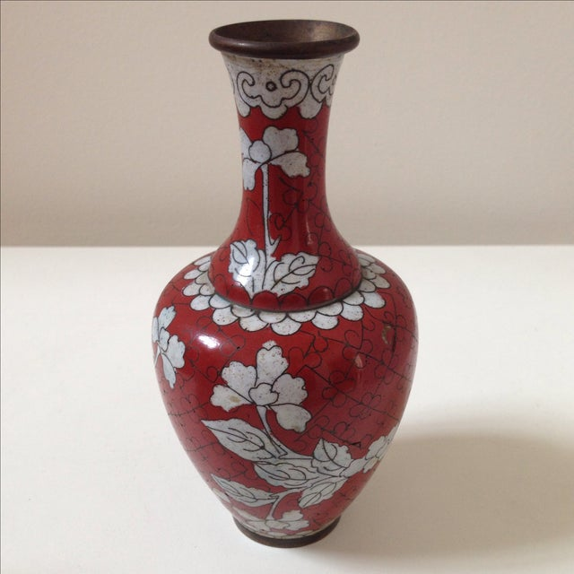 Red Cloisonne Vases - Pair - Image 8 of 11