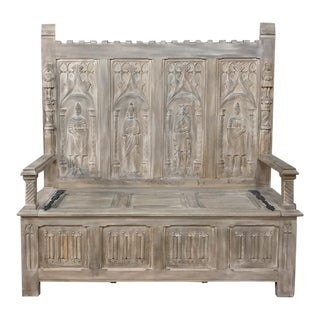 19th Century French Gothic Whitewashed Hall Bench For Sale