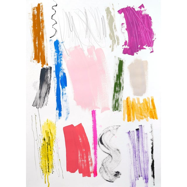 """Abstract Lesley Grainger """"Color Instinct No. 15"""" Original Abstract Painting For Sale - Image 3 of 3"""