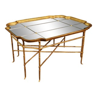French Louis XV Style Gilded Wrought Iron Mirrored Top Coffee Table For Sale
