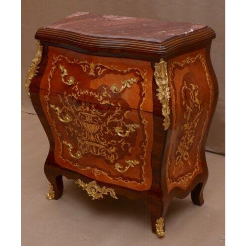 Art Deco Louis XV Style Marquetry Commode With Marble Top For Sale - Image 3 of 3