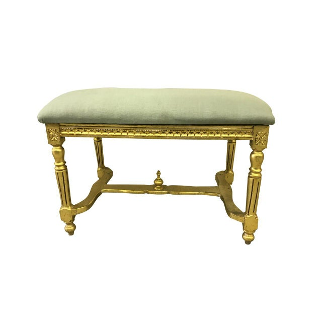 Vintage Louis XVI Style Vanity Bench For Sale In Baltimore - Image 6 of 7