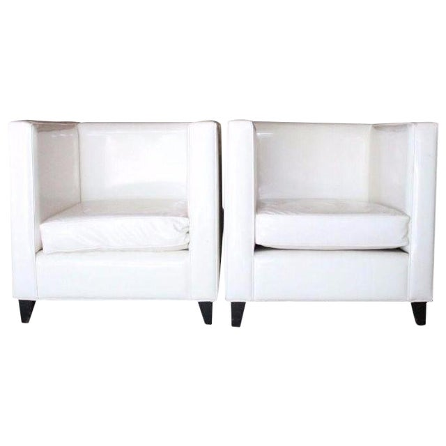 Modern White Club Chairs - A Pair - Image 1 of 4
