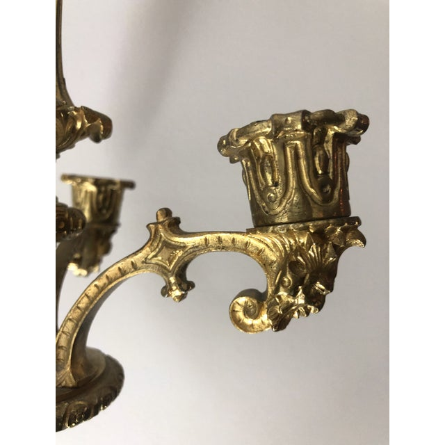 Mid 19th Century French Regency Gilt Bronze Hanging Candelabra Chandeliers - a Pair For Sale - Image 5 of 9