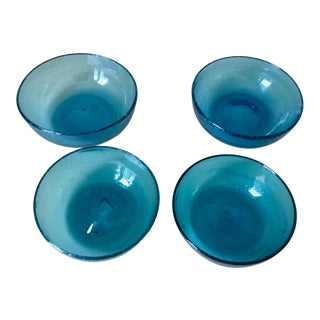 Vintage Murano Blue Blown Glass Bowls - Set of 4
