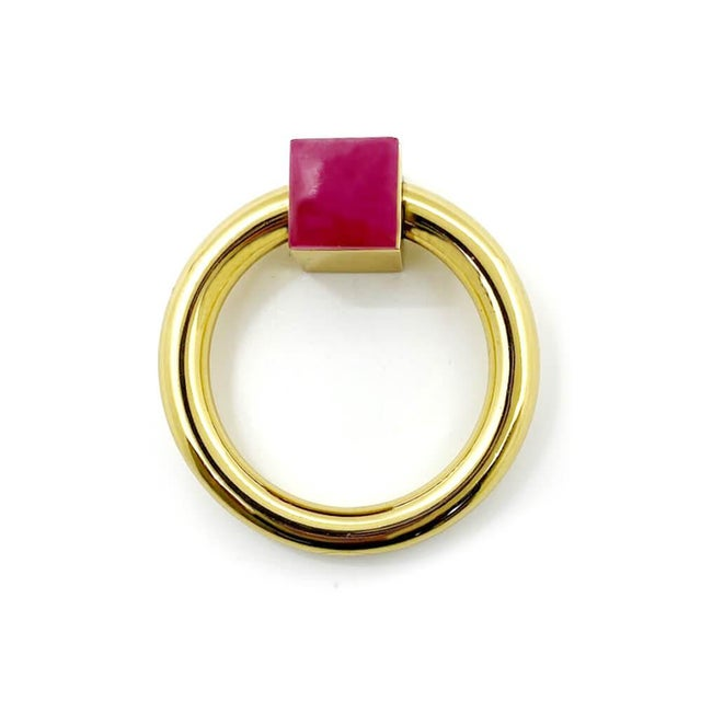 Traditional Addison Weeks Porter RIng Pull, Brass & Pink Jade For Sale - Image 3 of 4