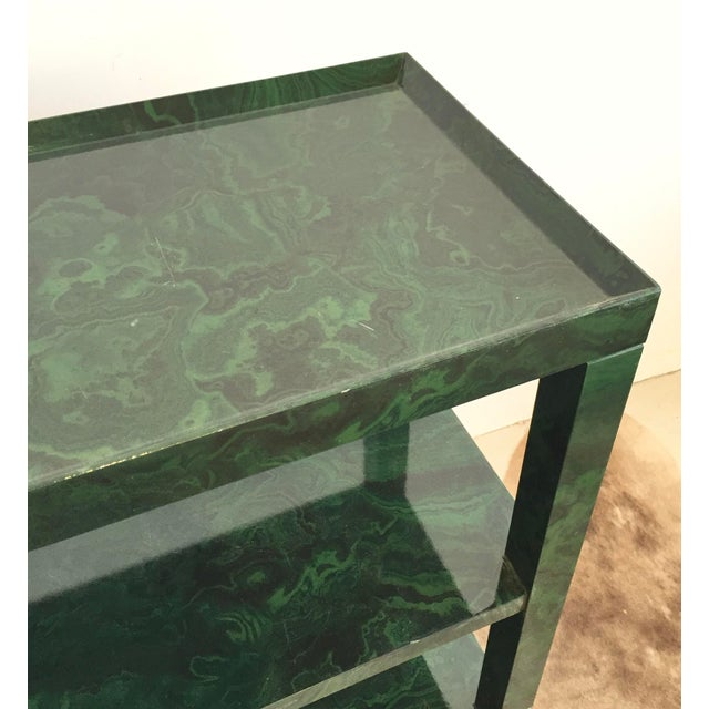 Hollywood Regency 1960s Mid-Century Modern Faux Malachite Bar Cart on Wheels For Sale - Image 3 of 10