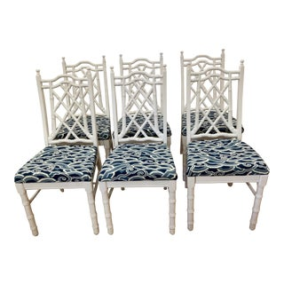 1960s Vintage Hollywood Regency Fretwork Faux Bamboo White Palm Beach Chairs- Set of 6 For Sale