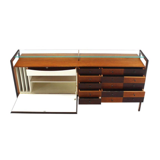Early 20th Century Multi Drawer Drop Front Bar Compartment Glass Shelf Top Long Dresser Checker For Sale - Image 5 of 9