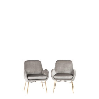 Sage Gray Velvet Armchair With Gold Legs - a Pair For Sale