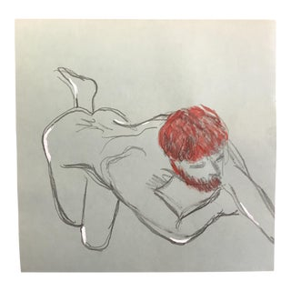 1970s James Bone Posing Male Nude Watercolor Drawing For Sale