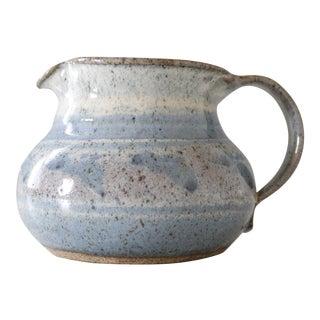 Vintage Ceramic Studio Pottery Creamer Pitcher Jug Blue Purple Mid Century Handmade