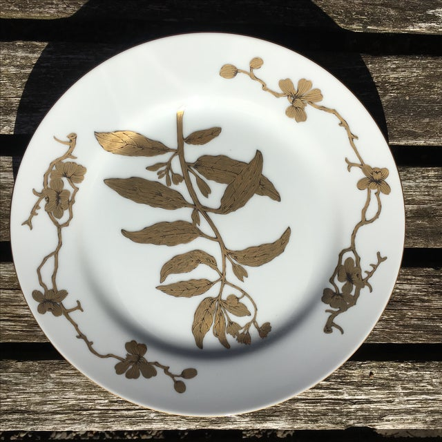 Vintage Gold and White Porcelain Plates - Pair - Image 3 of 7