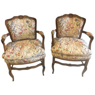 1980s Vintage Country French Boudoir Fauteuil Louis XV Chairs- A Pair For Sale