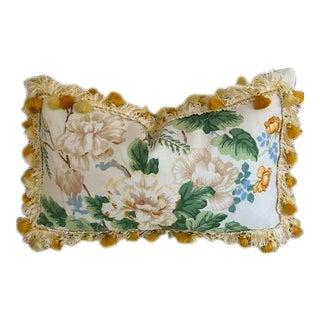 "Lee Jofa ""Chinese Peony"" Scalamandre Silk Tassel Trim Lumbar Pillow For Sale"