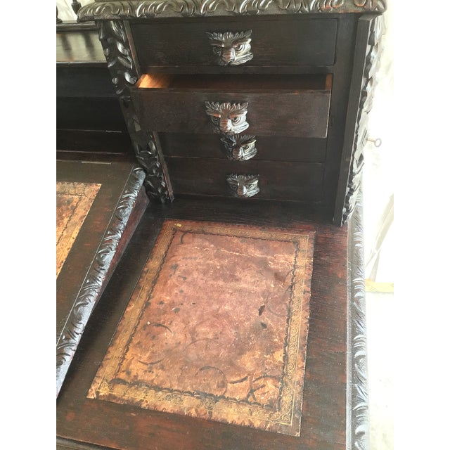 Gothic Revival Green Man Dickens Executive Desk For Sale - Image 4 of 13