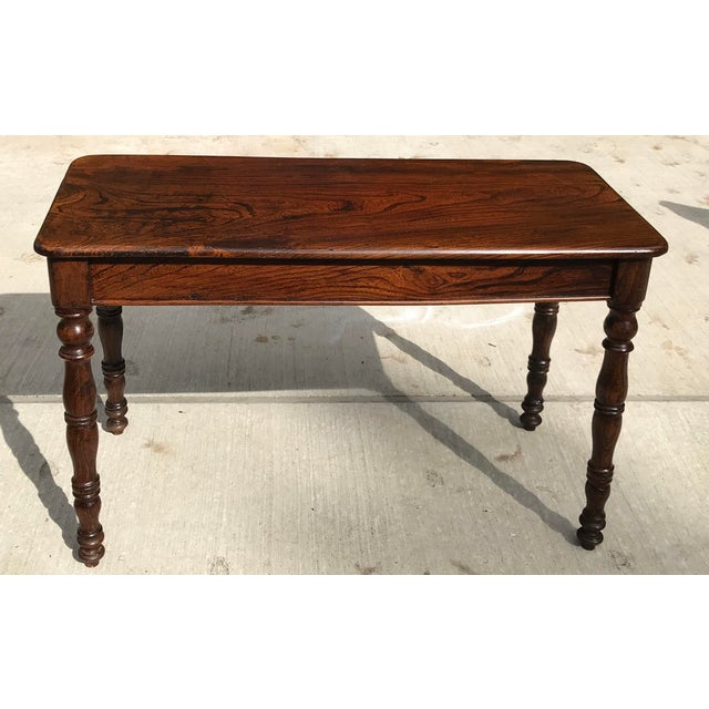 Antique Hand Hewn Rosewood Library Console Table For Sale - Image 9 of 9