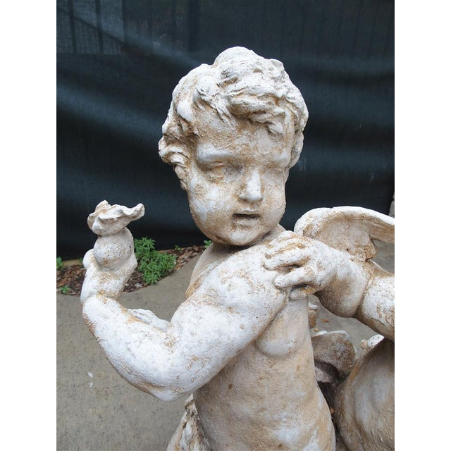 Stone Cast Stone Cupids Statue From France For Sale - Image 7 of 10