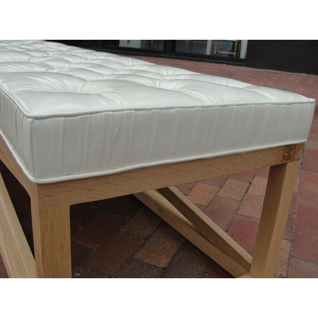Wood Modern Extra-Long Tufted Bench For Sale - Image 7 of 8