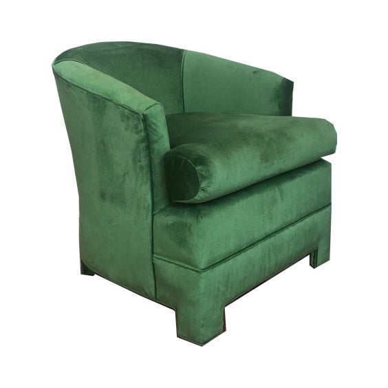 Green Velvet Milo Baughman Club Chairs - A Pair - Image 2 of 4