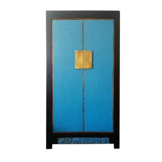 Asian Antique Distressed Blue 2-Door Storage Cabinet For Sale
