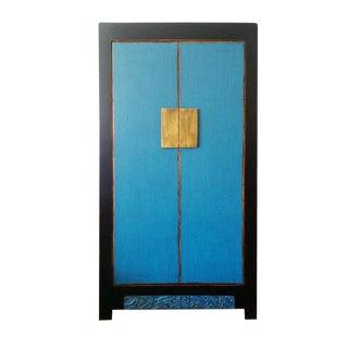 Asian Antique Distressed Blue 2-Door Storage Cabinet