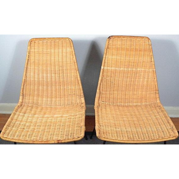Vintage Mid-Century Modern Wicker Chair With Iron Legs - Pair - Image 5 of 8