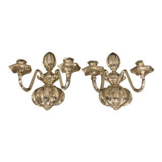 1900s Caldwell Silver Plated Sconces - a Pair For Sale