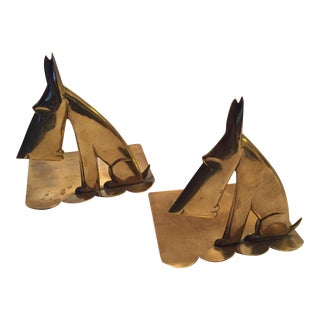 Hagenauer Signed Schnauzer Brass Bookends - a Pair For Sale