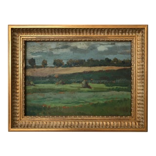 """Countryside in the Summer"" Impressionist Style Framed Oil Painting For Sale"
