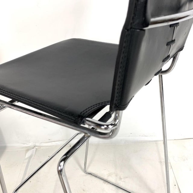Metal Laced Leather & Chrome Bar Stools by Toyoda Hiroyuki for Icf Group, Italy For Sale - Image 7 of 9