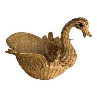 Vintage Natural Wicker Swan Basket For Sale