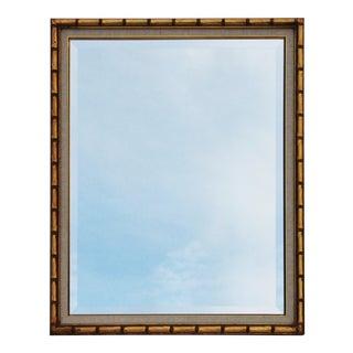 Gilt Faux Bamboo Mirror with a Linen Matte
