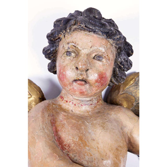 Italian Early 18th Century Italian Carved Polychrome Cherubs with Gilt - A Pair For Sale - Image 3 of 10