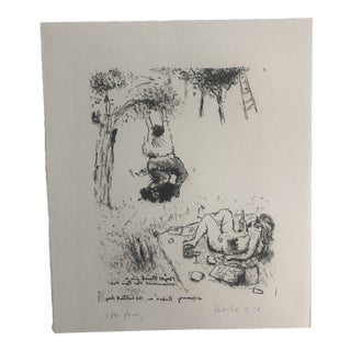 """""""Cherry Pickin' on the Hottest Day"""" Lithograph by Dellas Henke, 1978 For Sale"""
