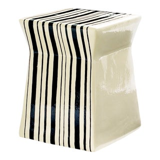 Ashlar Artisan Series Handmade Glazed Ceramic Outdoor Accent Stool, White For Sale