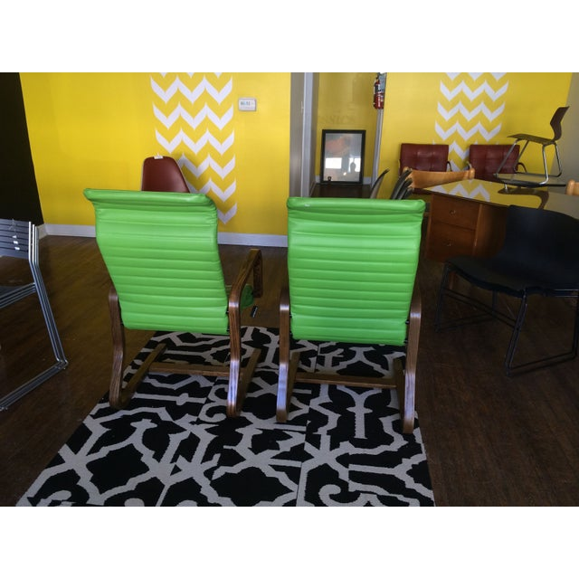 Thonet Bentwood Lounge Chairs in Green - A Pair - Image 4 of 8