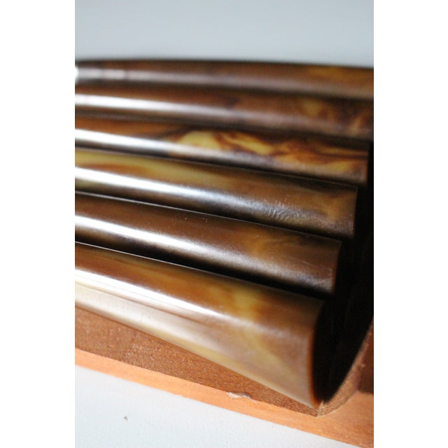Bakelite Handled Sheffield Knives & Wood Caddy - Set of 6 For Sale - Image 5 of 6