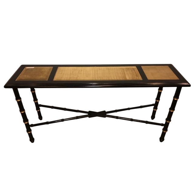Ebonized Faux Bamboo and Gilt Gold Console or Serving Table Manner of Jansen For Sale