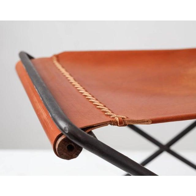 Cleo Baldon Leather and Iron Folding Stool, California, 1960s For Sale - Image 6 of 10