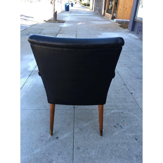 1960s Mid-Century Black Vinyl & Walnut Arm Chair For Sale - Image 5 of 9