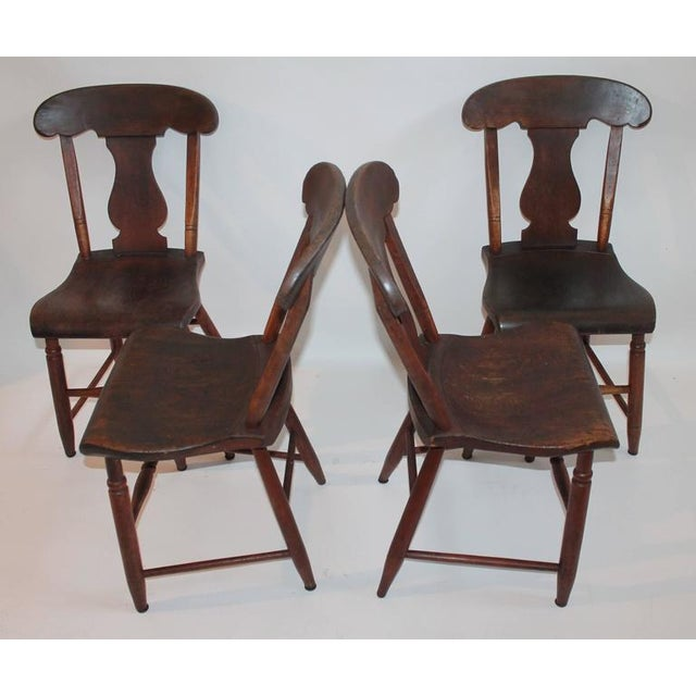 Wood Set of Four 19th Century Original Painted Plank Bottom Chairs For Sale - Image 7 of 9