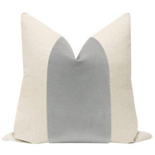 """22"""" Mist Velvet Panel & Linen Pillow Cover"""