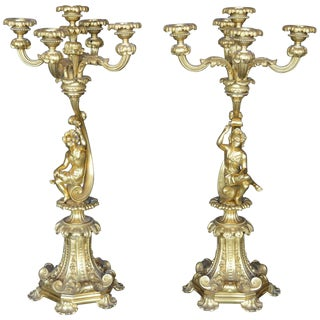 Pair of 19th Century Italian Candelabras For Sale