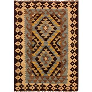 Kilim Arya Saira Brown/Ivory Wool Rug -2'11 X 4'4
