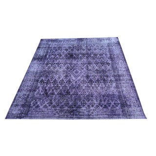 Antique Persian Tabriz Modern Purple Overdye Rug - 9′1″ × 11′8″ For Sale
